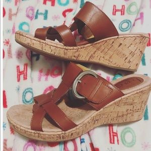 Born Concept Brown Leather Wedge Heels